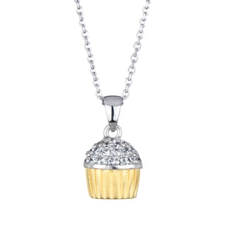 Two Color CZ Cupcake Necklace With Back