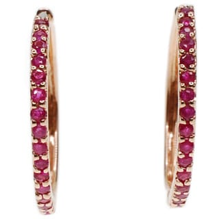 Kabella 14K Rose Gold Ruby Hoop Earring