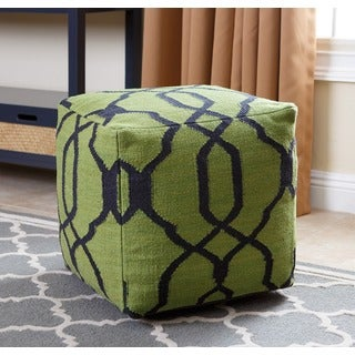 ABBYSON LIVING Green Crystal Lattice 18-inch Square New Zealand Wool Pouf