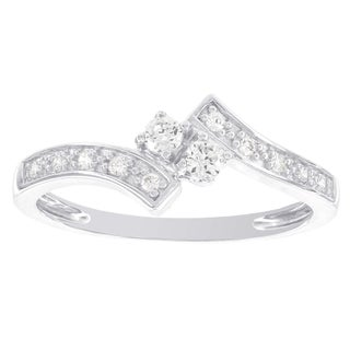 H Star 14k White Gold 1/4ct TDW Diamond Promise Ring (I-J, I2-I3)