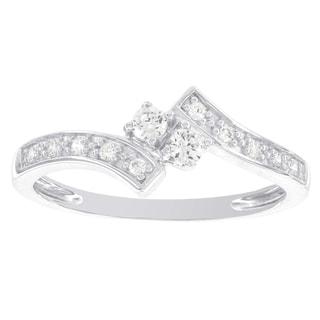 H Star 14k White Gold 1/4ct TDW Diamond Promise Ring (I-J, I2-I3)