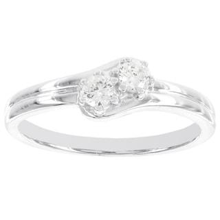 H Star 14k White Gold 1/5ct 2-stone Promise Ring (I-J, I2-I3)