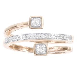 H Star Rose Gold over Silver 1/5ct TDW Diamond Swirl Ring