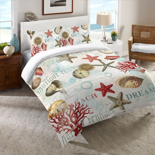 Laural Home Dream Beach Shells Collage Comforter