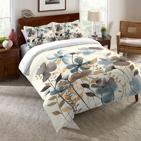Laural Home Watercolor Greige Flowers Comforter