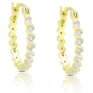 Finesque Gold Over Sterling Silver Diamond Accent 'S' Design Hoop Earrings (I-J, I2-I3)