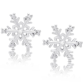 Finesque Sterling Silver Diamond Accent Snowflake Design Earrings (I-J, I2-I3)