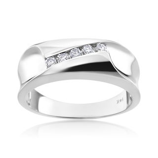 Andrew Charles 14k White Gold Men's 1/5ct TDW Diamond Ring