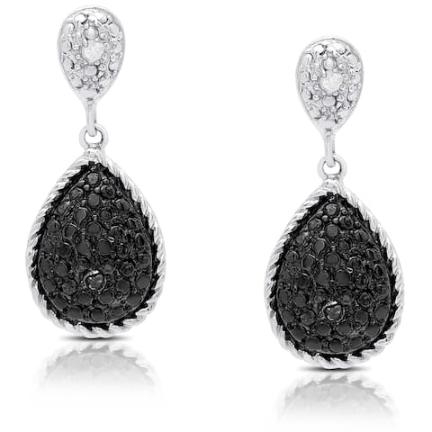 Finesque Silver Overlay Black Diamond Accent Dangle Earrings