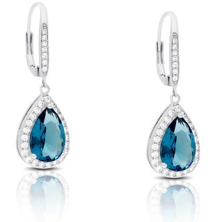 Dolce Giavonna Silver Overlay Cubic Zirconia and Simulated London Blue Topaz Teardrop Earrings