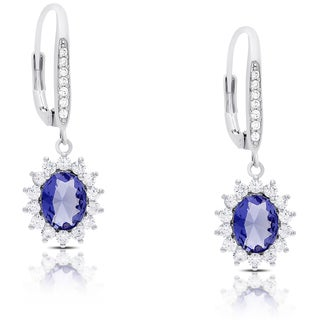 Dolce Giavonna Silver Overlay Simulated Tanzanite and Cubic Zirconia Oval Dangle Earrings