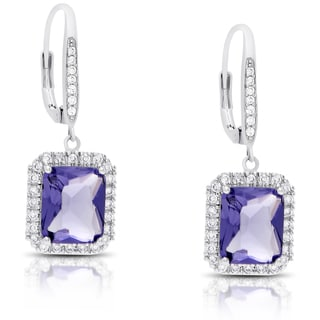 Dolce Giavonna Silver Overlay Cubic Zirconia and Simulated Tanzanite Emerald-cut Dangle Earrings