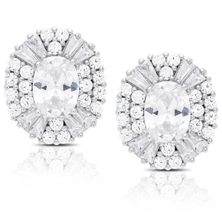 Dolce Giavonna Sterling Silver Oval Cubic Zirconia Stud Earrings