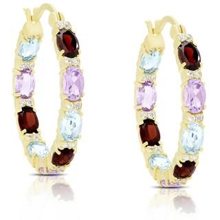 Dolce Giavonna Gold Over Sterling Silver Multi Gemstone Hoop Earrings
