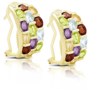 Dolce Giavonna Gold Over Sterling Silver Multi Gemstone Half Hoop Earrings