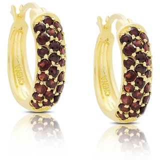 Dolce Giavonna Gold Over Sterling Silver Garnet Hoop Earrings