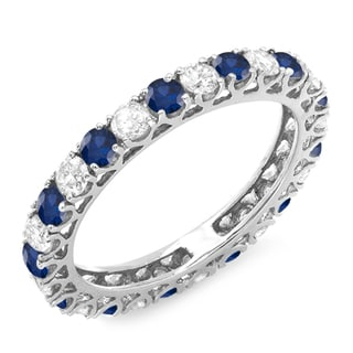 14k White Gold 1 1/2ct TDW Diamond and Blue Sapphire Eternity Anniversary Band (H-I, I1-I2)