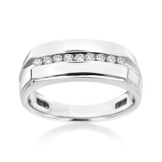 Andrew Charles 14k White Gold Men's 1/4ct TDW Diamond Ring|https://ak1.ostkcdn.com/images/products/11588138/P18528310.jpg?impolicy=medium