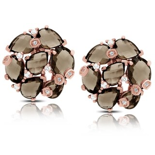Dolce Giavonna Rose Gold Over Sterling Silver Smokey Quartz and Cubic Zirconia Stud Earrings