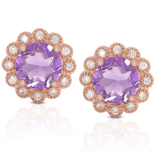 Dolce Giavonna Rose Gold Overlay Cubic Zirconia and Amethyst Flower Design Earrings