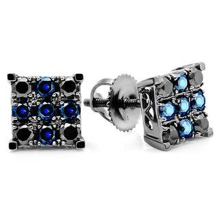 10k White Gold Men's 1ct TDW Black Diamond and Round Blue Sapphire Stud Earrings