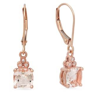 10k Rose Gold 2ct TGW Morganite and Diamond Dangling Drop Earrings (I-J, I1-I2)