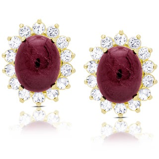 Dolce Giavonna Gold Over Sterling Silver Oval Ruby and White Topaz Stud Earrings