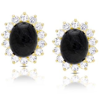 Dolce Giavonna Gold Over Sterling Silver Oval Sapphire and White Topaz Stud Earrings