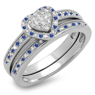 Sterling Silver 1/4ct TGW Blue Sapphire and Diamond Heart-shaped Bridal Ring Set (I-J, I1-I2)