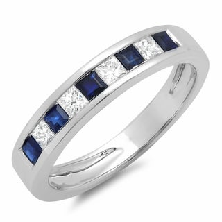 10k White Gold 1/2ct TDW Princess Diamond and Blue Sapphire Anniversary Band (H-I, I1-I2)