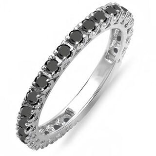 Elora 14k White Gold 1ct TDW Round Black Diamond Eternity Anniversary Ring