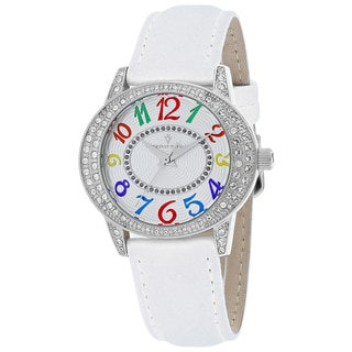 Christian Van Sant Women's CV8410 Sevilla Round White Leather Strap Watch