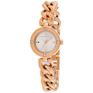Christian Van Sant Women's CV0213 Sultry Round Rose-tone Stainless Steel Bracelet Watch
