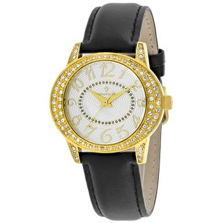Christian Van Sant Women's CV8412 Sevilla Round Black Leather Strap Watch