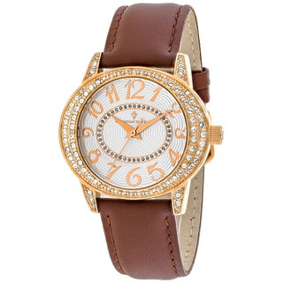 Christian Van Sant Women's CV8413 Sevilla Round Brown Leather Strap Watch