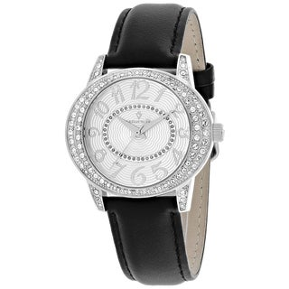 Christian Van Sant Women's CV8411 Sevilla Round Black Leather Strap Watch