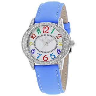 Christian Van Sant Women's CV8414 Sevilla Oval Blue Leather Strap Watch