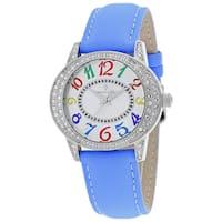 Christian Van Sant Women's CV8414 Sevilla Oval Blue Leather Strap Watch