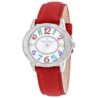 Christian Van Sant Women's CV8415 Sevilla Oval Red Leather Strap Watch