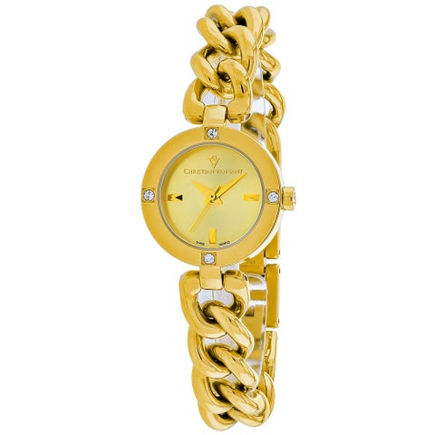 Christian Van Sant Women's Sultry Round Gold-tone Stainless Steel Bracelet Watch