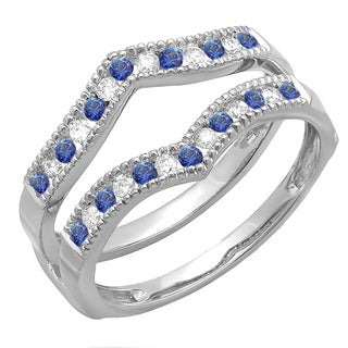 Elora 14k White Gold 2/5ct TDW Diamond and Blue Sapphire Milgrain Wedding Band (H-I, I1-I2)