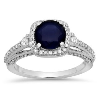 Elora 14k White Gold 2 1/10ct TGW Blue Sapphire and Diamond Bridal Ring (H-I, I1-I2)