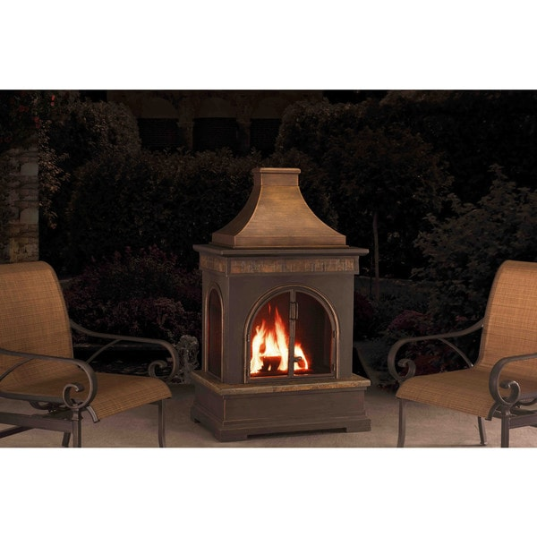 Sunjoy Hardy 58-inch Slate And Steel Outdoor Fireplace To