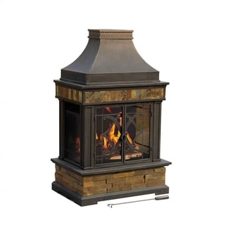 Sunjoy Heirloom 56-inch Steel and Slate Outdoor Fireplace