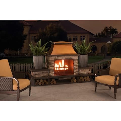 Sunjoy Bel Aire Large Faux Stone Steel Outdoor Fireplace with Wood Storage