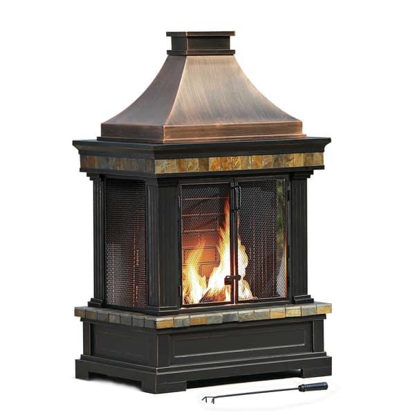 Shop Sunjoy Dixon 56 Wood Burning Fireplace Overstock 11588255