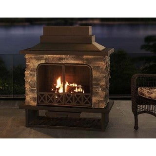 Sunjoy Farmington 48-inch Steel and Faux Stack Stone Outdoor Fireplace