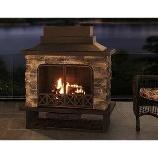Shop Sunjoy Farmington 48 Inch Faux Stone Steel Wood Burning Outdoor Fireplace Black 48 Overstock 11588256