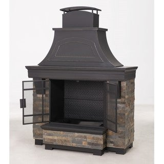 Sunjoy Japer 72-inch Steel and Faux Stack Stone Outdoor Fireplace