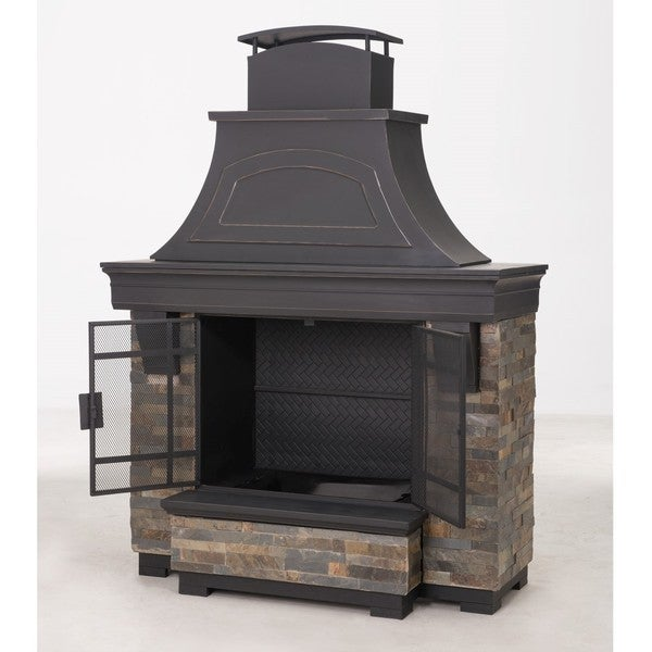 Sunjoy Japer 72 inch Steel And Faux Stack Stone Outdoor Fireplace
